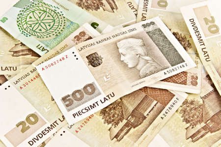 Latvian State five hundred lats banknotes and twenty lats banknotes Stock Photo