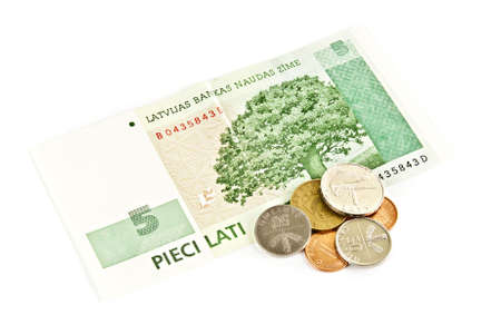 Latvian national five- lats banknotes with centimes on a white background photo