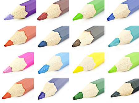 Colored pencils for macro photography on a white background photo