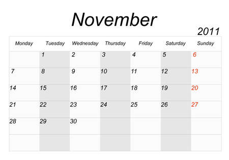 2011 calendar page on a white background, each month on a separate page in the background. photo