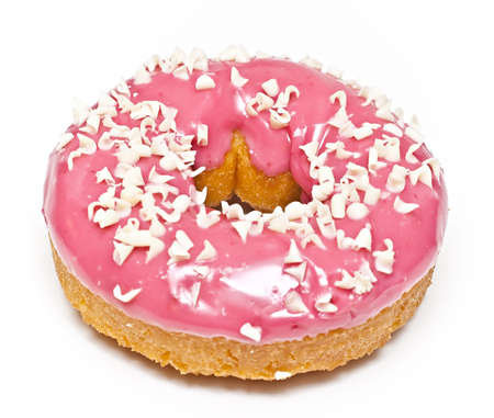 On a white background Pink Donut with white flakes.