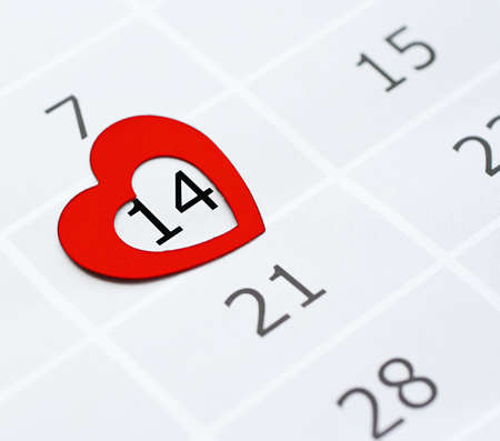 Page of the Calendar With Valentine's date inside the red heart.