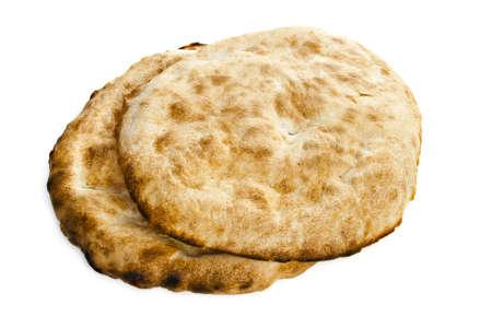 Two pita bread on a white background.