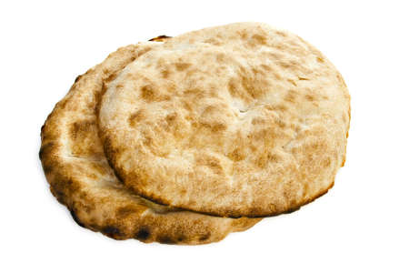 Two pita bread on a white background.