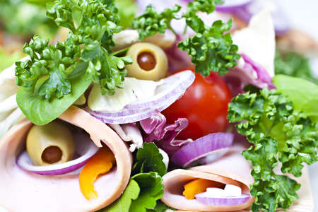 Lavash with fresh vegetables.