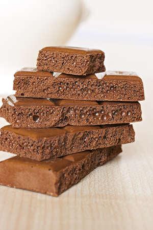 Tower of chocolate sponge bricks. Stock Photo - 9169061