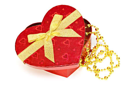 Gift box with a golden heart box photo