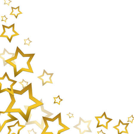 decoration lights: Gold stars background. Isolated on the white.