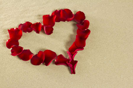 Of rose petals on the sand make a heart. photo