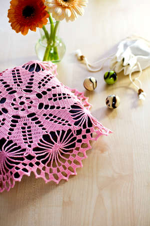 Crocheted blanket pink color, for home textiles, handmade  photo