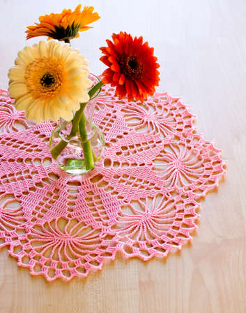 lace fabric: Crocheted blanket pink color, for home textiles, handmade. Stock Photo
