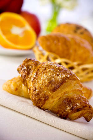 Tasty breakfast  Croissants with  fresh  fruit  photo