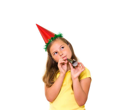 Beautiful little girl celebrates birthday  Isolated on white background photo