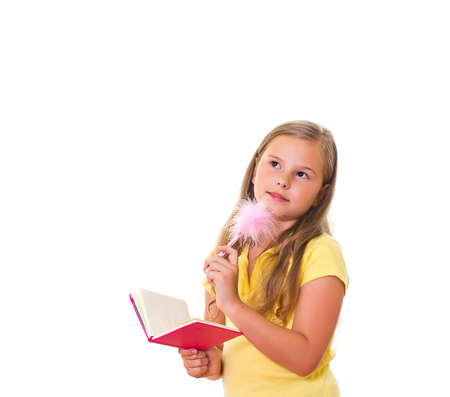 Girl holds the pink note pad  photo