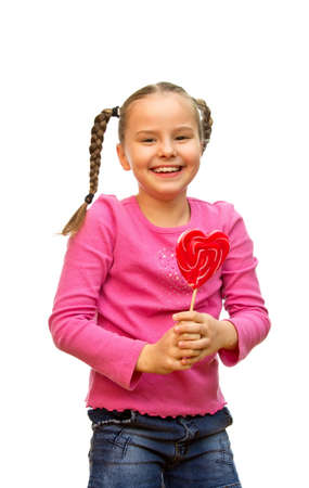A young girl happy to watch the lollipop  photo