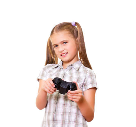 teenaged girl: A teenaged girl playing video game  Isolated on white background