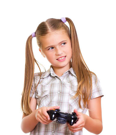 A teenaged girl playing video game  Isolated on white background  photo
