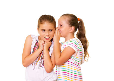 chatty: Two happy young girlfriends talking of secrets
