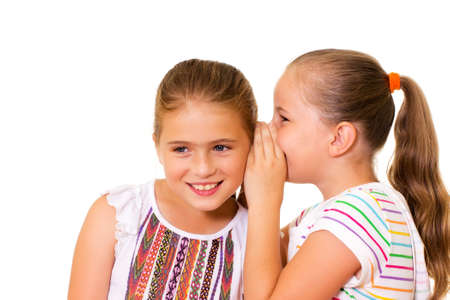 Two happy young girlfriends talking of secrets  photo