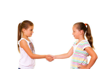 Two girls friendship  Isolated on the white background