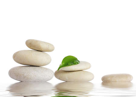 Spa stones and green leaf, isolated on white background  Stockfoto