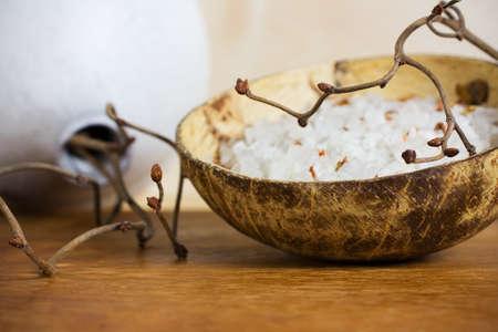 hazel branches: Spa stones, sea salt and dry hazel branches