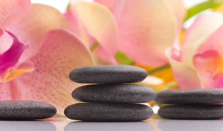 Spa stones and pink orchid flower, isolated on white background. Stock Photo - 17912633