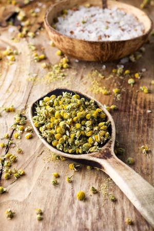 goldenrod: Dried chamomile flowers,  herbal medicine  Stock Photo