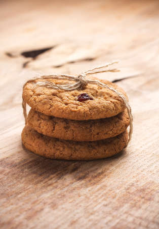 Oatmeal cookies on a wooden table, still life photo   photo