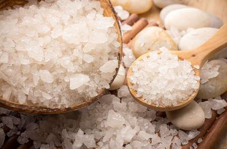 Natural bath salt, organic products. Spa stones. Stock Photo