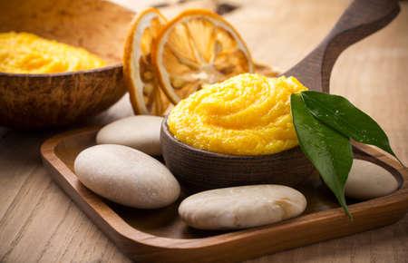 Mango body butter  Healthcare aromatherapy  Stock Photo