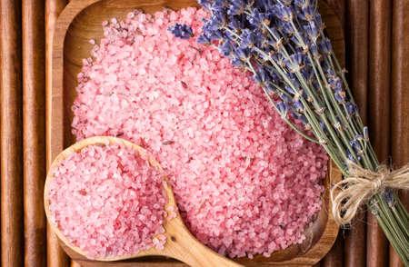 Dry lavender flower sea salt  photo