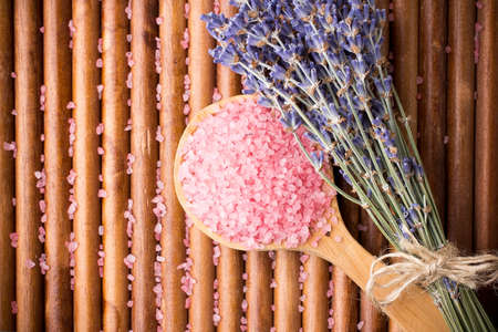 Dry lavender flower sea salt. photo