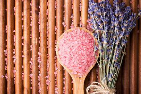 Dry lavender flower sea salt  photo