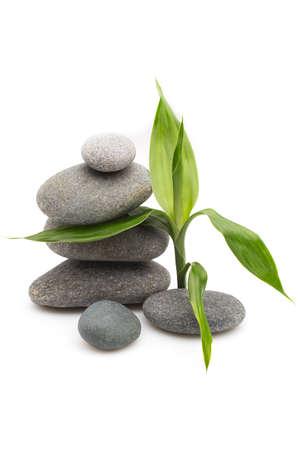 Evenwichtige spa stenen met bamboe planten en witte achtergrond. Stockfoto