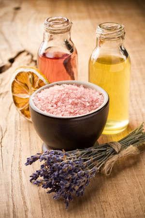Masage body olie. Aromatherapie olie, spa welzijn. Stockfoto