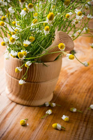 Chamomile flowers in mortar on a wooden surface. Chamomile aromatherapy.  photo