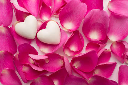 falling in love: Rose petals and stone hearts. Stock Photo