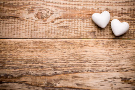 wooden frame: White heart and wooden  background. Stock Photo