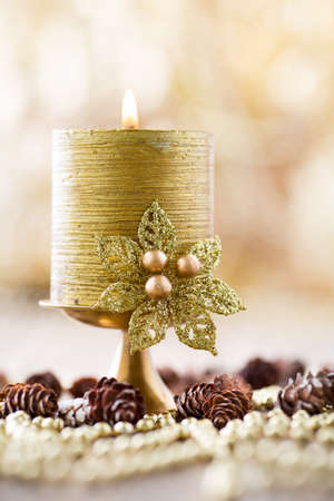 Christmas backgrounds. Christmas decor on the wooden background. Imagens