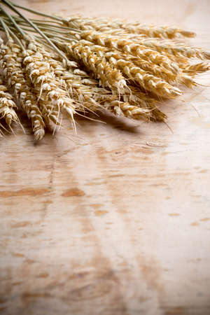 Wheat bunch with a menu board, wooden background. photo