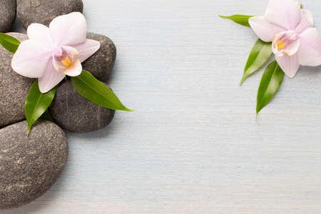 Orchidee bloem op houten achtergrond met spa stenen. Stockfoto