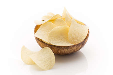 Eco potato chips on a white background. Studio photography. photo