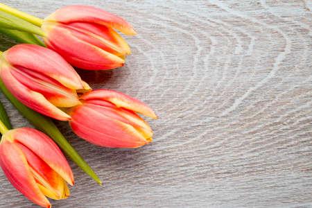 ramo de flores: Tulipanes en una superficie de madera. Estudio de fotograf�a.