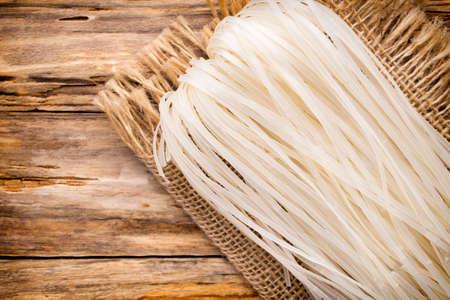 rice noodles: Rice noodles on linen napkins.