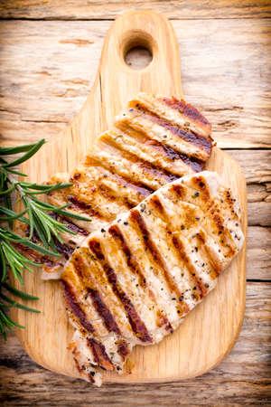 chops: Grilled pork chops pieces.