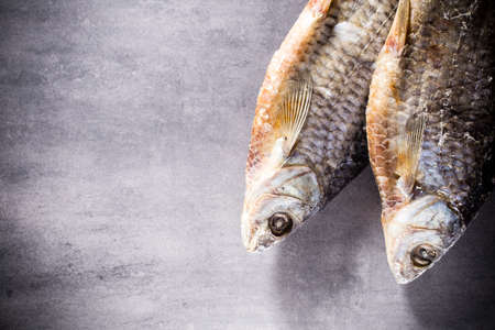perch dried: River perch salted, dried Stock Photo