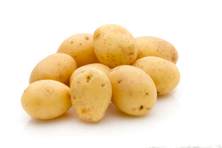 spud: Potatoes on the white background