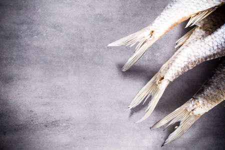 perch dried: River perch salted, dried. Studio photo. Stock Photo