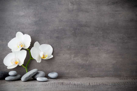 Spa stones and white orchid on the grey background. Imagens - 41685139